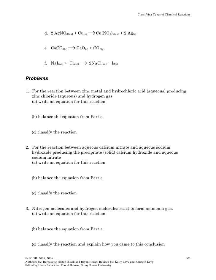 Five Types Of Chemical Reaction Worksheet and 57 Types Of Chemical Reactions Worksheet Pogil Impression