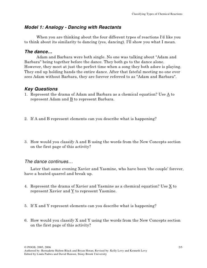 Five Types Of Chemical Reaction Worksheet or 57 Types Of Chemical Reactions Worksheet Pogil Impression