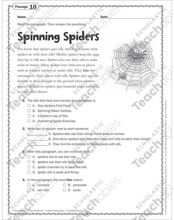 Free 4th Grade Reading Comprehension Worksheets Also Spinning Spiders Close Reading Passage