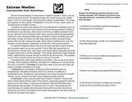 Free 4th Grade Reading Comprehension Worksheets and Extreme Weather