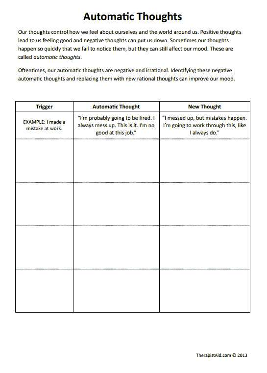 Free Cbt Worksheets Along with Cbt Worksheets Automatic thoughts Preview Good for Negative Self