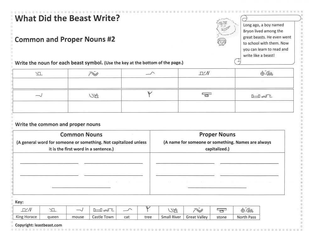 Free Noun Worksheets with Free Noun Worksheet Translate What the Beast Wrote and Identify the