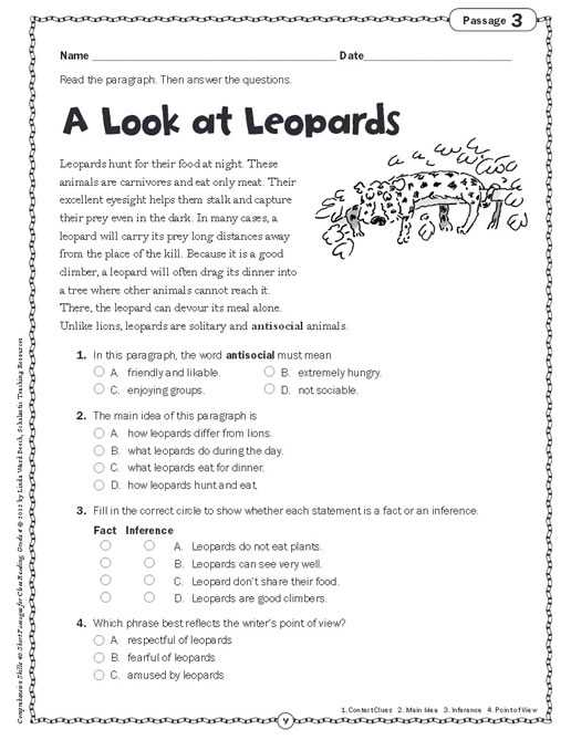 Free Printable Main Idea Worksheets or Grade 4 Prehension Worksheets Worksheets for All