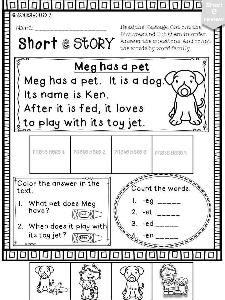 Free Printable Phonics Worksheets with Short E Phonics Worksheets and Activities No Prep