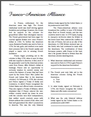French and Indian War Worksheet and Franco American Alliance Reading with Questions