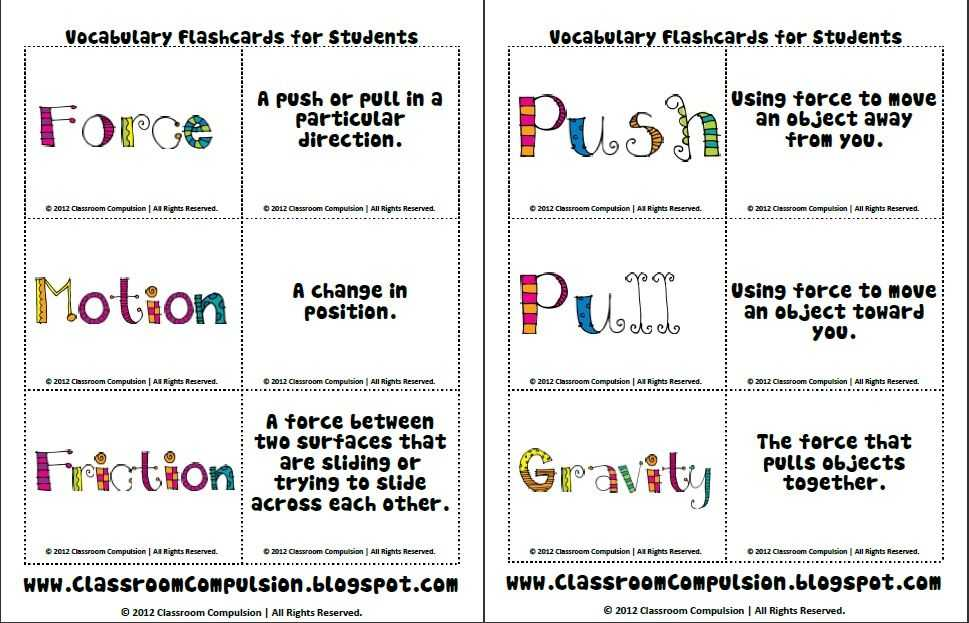 Friction and Gravity Lesson Quiz Worksheet as Well as force and Motion Vocab Cards Science Pinterest