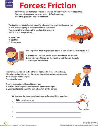 Friction and Gravity Lesson Quiz Worksheet or Learn About force Friction