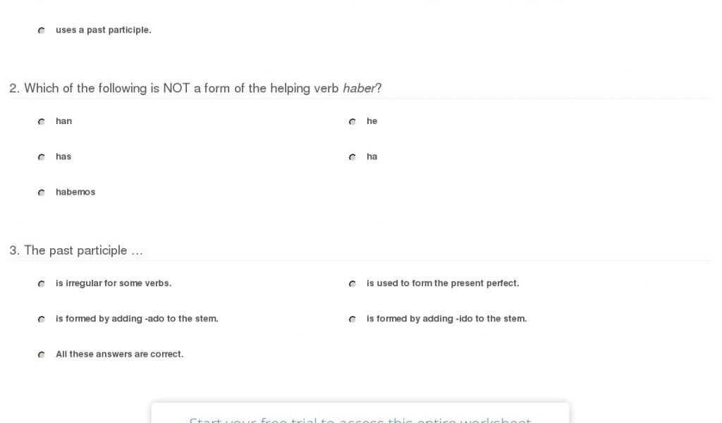 Future Tense Spanish Worksheet Also Quiz Worksheet the Present Perfect Tense In Spanish Study Mit