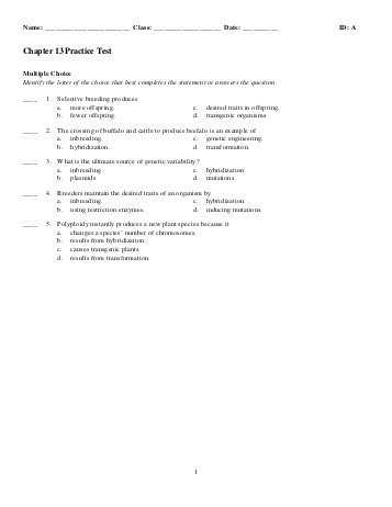 Genetics and Biotechnology Chapter 13 Worksheet Answers Along with Name