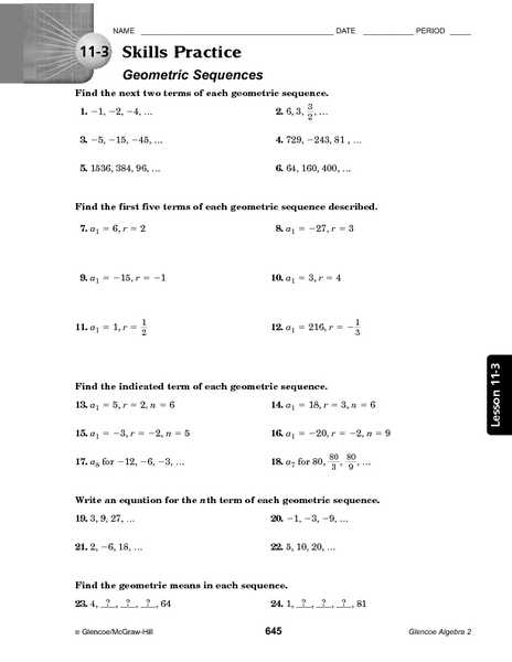 Geometric Sequences Worksheet Answers together with Counting Number Worksheets Sequences Worksheets Algebra 1 Free