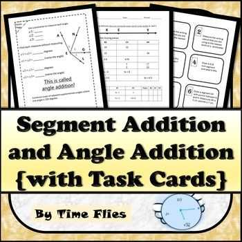 Geometry Segment and Angle Addition Worksheet Answer Key together with Segment Addition and Angle Addition with Task Cards