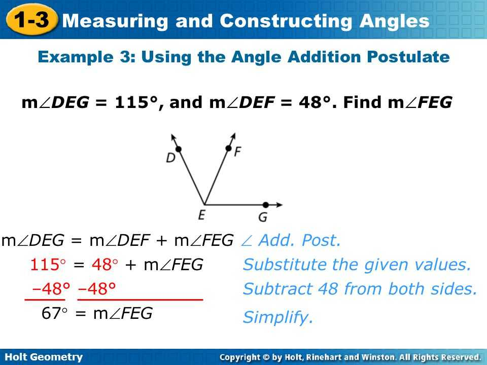 Geometry Segment and Angle Addition Worksheet Answer Key with Measuring and Constructing Angles 1 3 Holt Geometry Ppt