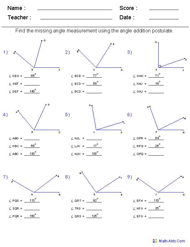 Geometry Segment and Angle Addition Worksheet Answers Also Geometry Worksheets with Answers Worksheets for All