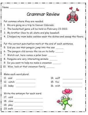 Grammar Review Worksheets Also Grammar for Second Grade Ela for 2nd Grade Mas Punctuation