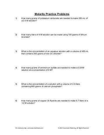Half Life Practice Worksheet or Molarity Practice Worksheet