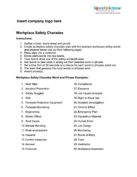 Health and Safety In the Workplace Worksheets and Safety Games for the Workplace