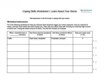 High School Health Worksheets or Unit Title Stress Management