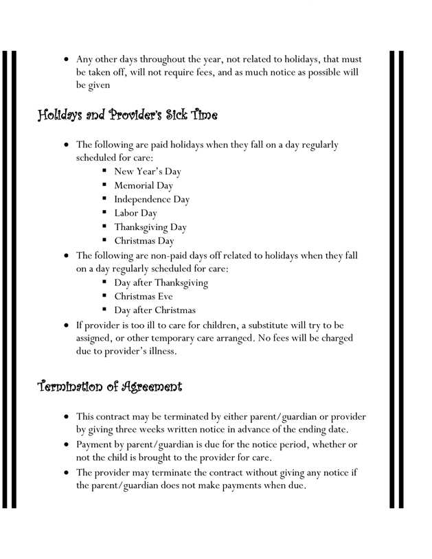 Home Daycare Tax Worksheet and Home Daycare Contracts …
