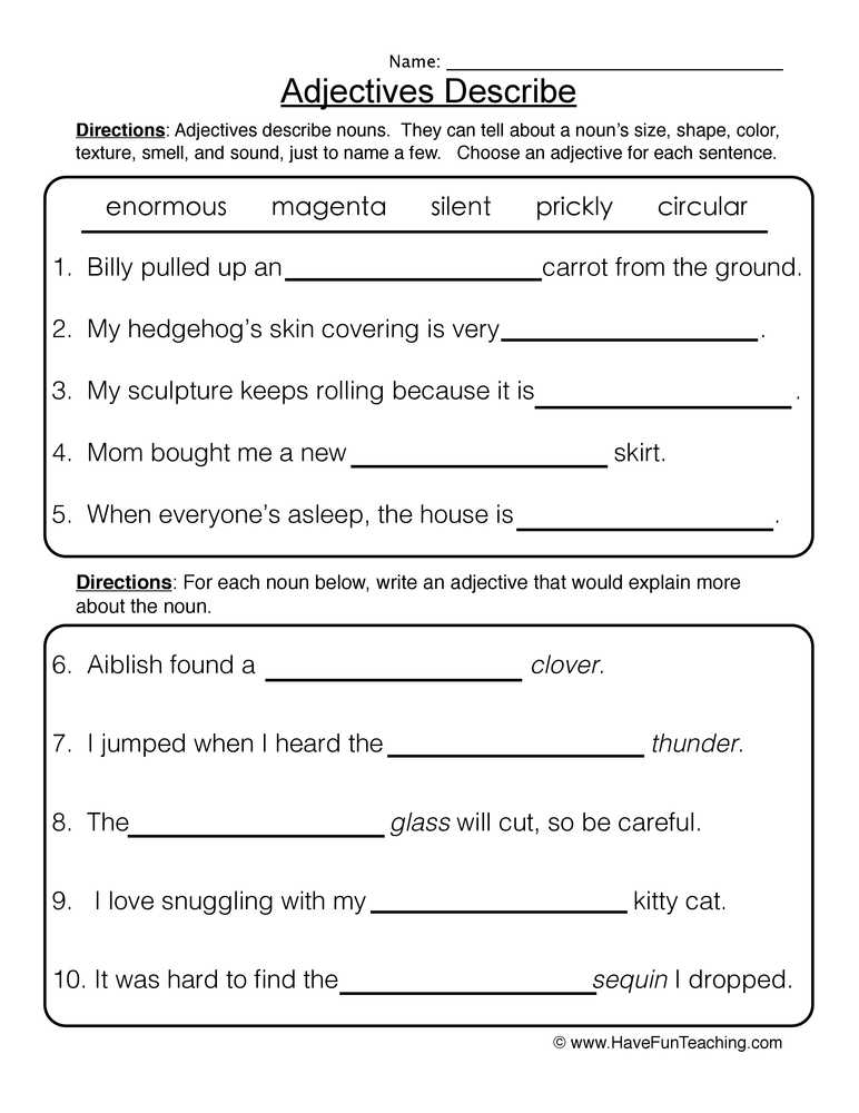 Identifying Adjectives Worksheet with Alluring Adjectives Worksheets for Grade 2 with with