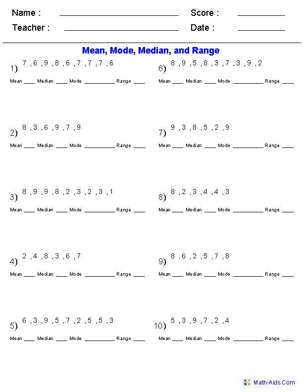 Interquartile Range Worksheet Along with Mean Mode Median Worksheets