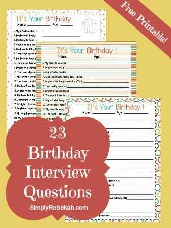 Interview Worksheet for Students Also Birthday Interview Questions Free Printable