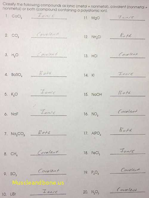 Ionic Bonding Worksheet Along with Covalent Pounds Worksheet formula Writing and Naming Key Unique