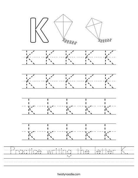 Kindergarten Alphabet Worksheets together with Practice Writing the Letter K Worksheet Twisty Noodle