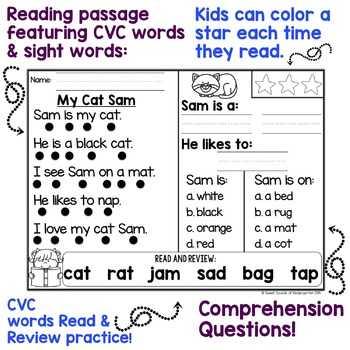 Kindergarten Reading Comprehension Worksheets Also Kindergarten Reading Prehension Passages by Sweet sounds Of
