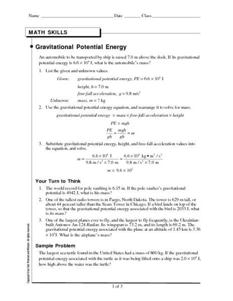 Kinetic and Potential Energy Problems Worksheet Answers and Worksheet Potential Energy Problems Energy Etfs