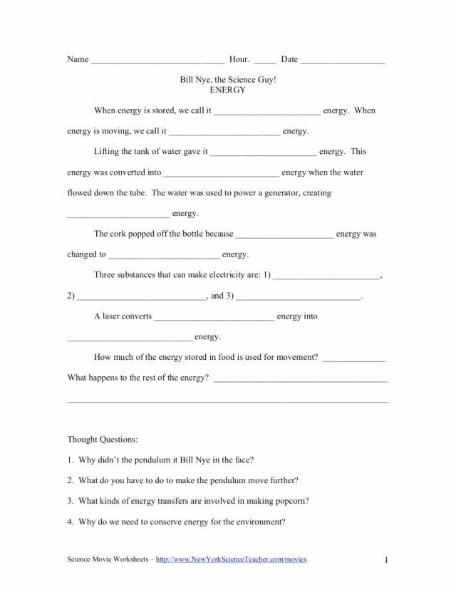 Kinetic and Potential Energy Problems Worksheet Answers with Kinetic and Potential Energy Worksheet Answers Luxury Bill Nye