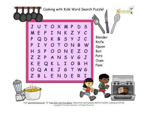 Kitchen Safety Worksheets as Well as Word Search Puzzle with 7 Kitchen and Cooking Words for Children