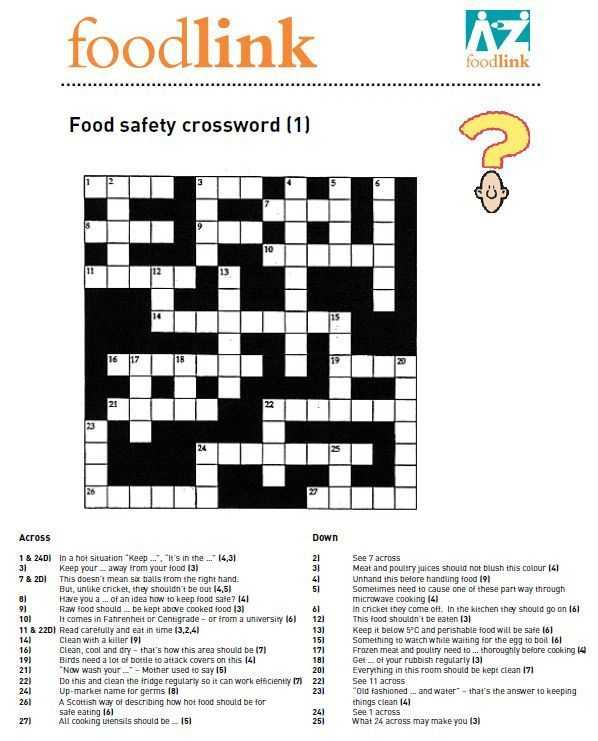 Kitchen Safety Worksheets together with Food Safety Puzzles and Activities to Pupils Thinking About