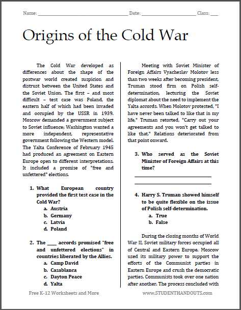Korean War Worksheet or origins Of the Cold War