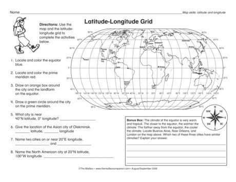 Latitude and Longitude Worksheet Answer Key and Latitude Longitude Grid Lesson Plans the Mailbox
