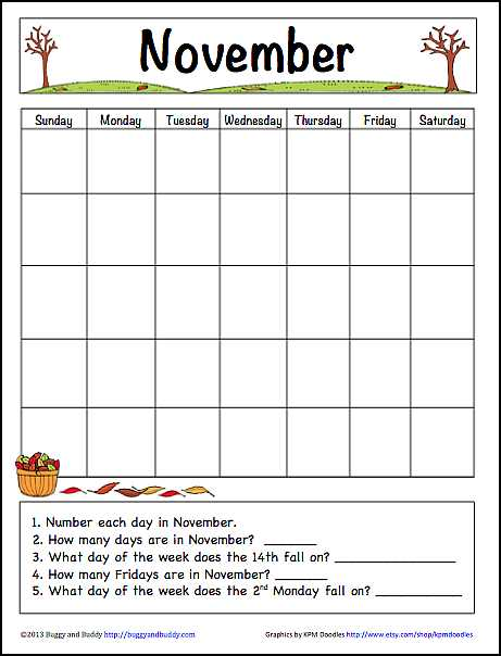 Learning Calendar Worksheets or November Learning Calendar Template for Kids Free Printable