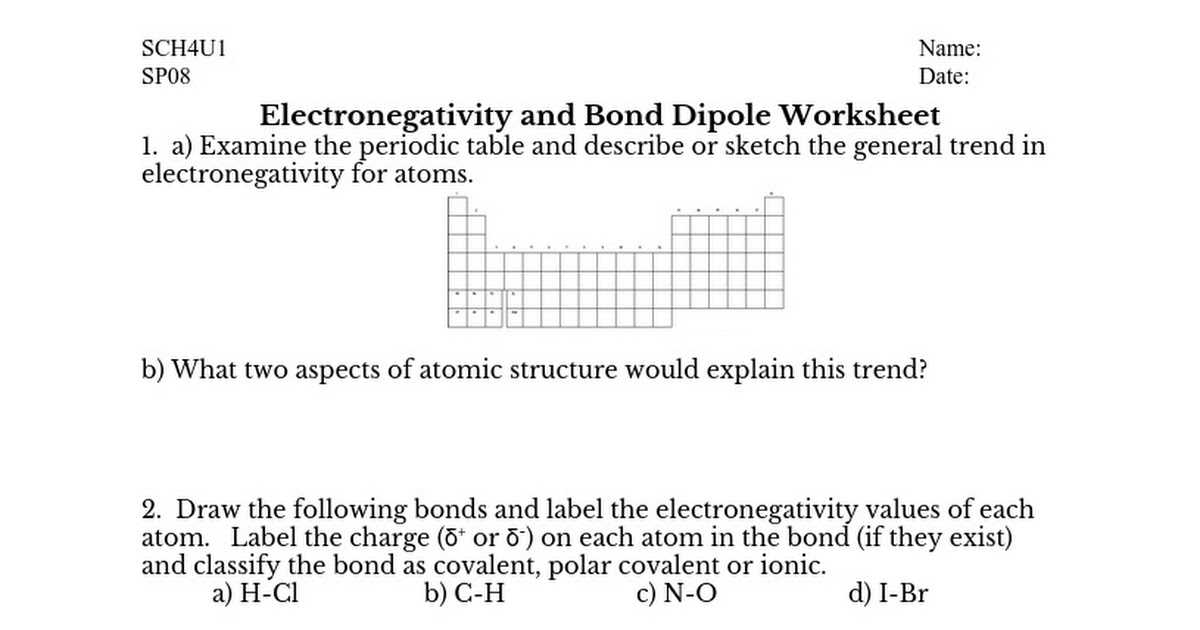 Lewis Structure and Molecular Geometry Worksheet with Sp08 Bond and Molecular Dipoles Worksheet Google Docs