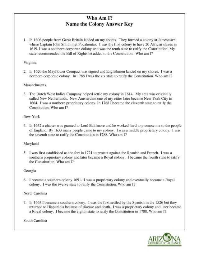 Life In the Colonies Worksheet Answers and who Am I Name the Colony Worksheet Lesson Planet