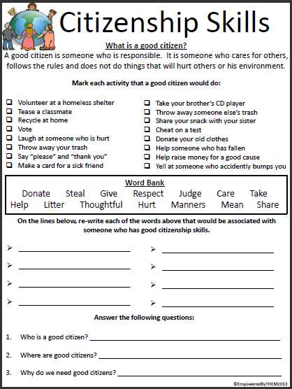 Life Skills Worksheets High School together with Empowered by them Citizenship Skills