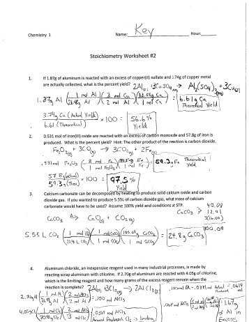 Limiting Reactant and Percent Yield Worksheet Answer Key Also Percent Yield Worksheet 1 Kidz Activities