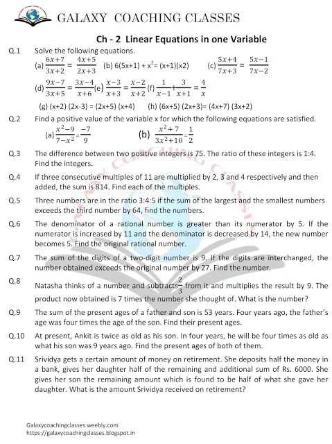 Linear Equations In One Variable Class 8 Worksheets together with 25 Best Galaxy Education Video Images On Pinterest