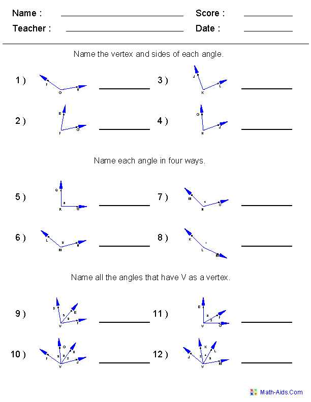 Lines and Angles Worksheet Along with Naming Angles Worksheets 6th Grade Math Pinterest