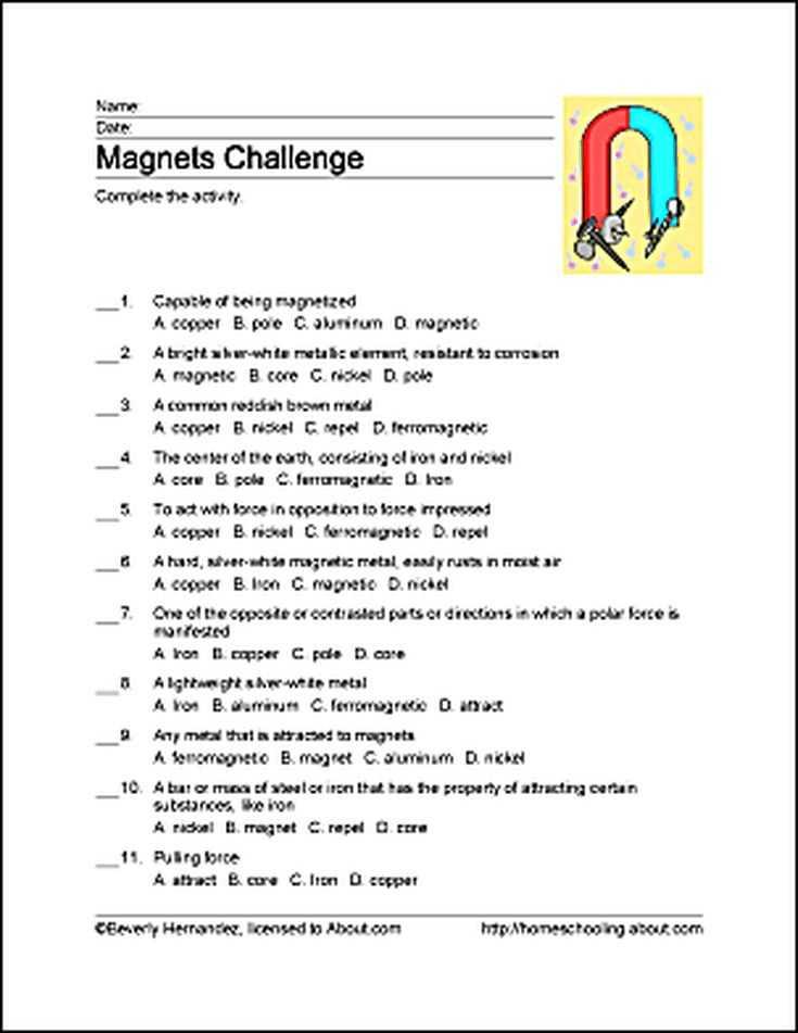 Magnetism Worksheet Answers or 7 Best Unit Study Magnetism Images On Pinterest