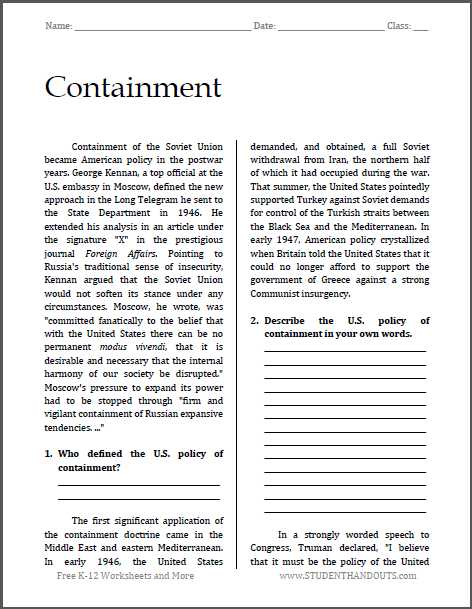 Main Idea Worksheets Pdf or Containment Cold War Reading with Questions