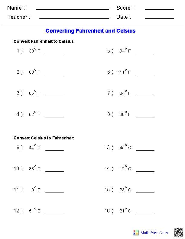 Matter and Energy Worksheet Also Converting Fahrenheit & Celsius Temperature Measurements Worksheets