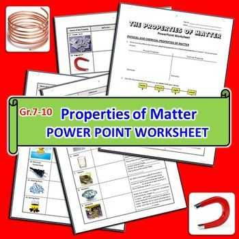 Matter and Energy Worksheet and Properties Of Matter Powerpoint Worksheet Editable