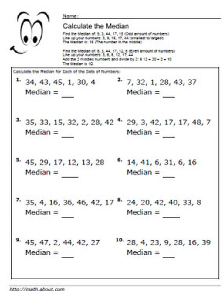 Mean Mode Median and Range Worksheet Answers Along with Median Worksheets for Math Students