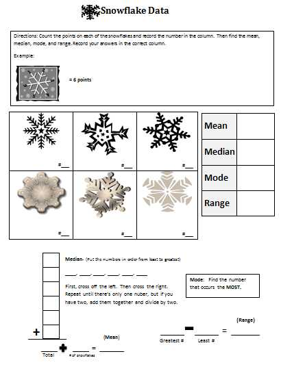 Mean Mode Median and Range Worksheet Answers Also Snowflake Mean Median Mode and Range for Katy and the Big Snow