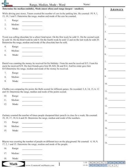 Mean Mode Median and Range Worksheet Answers or 68 Best Mean Median Mode and Range Images On Pinterest