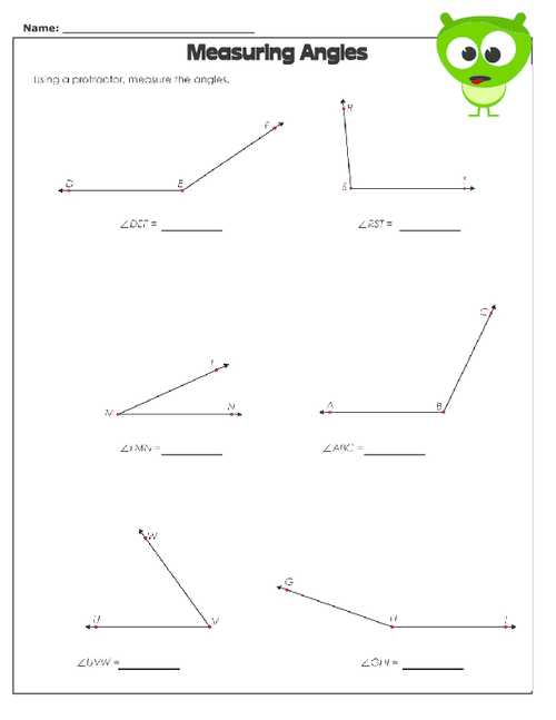 Measuring Angles with A Protractor Worksheet or Measuring Angles Worksheet