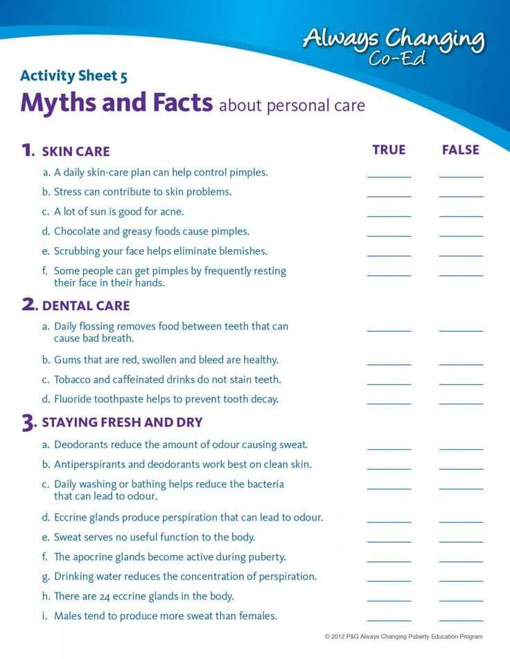 Middle School Health Worksheets Pdf and 8 Best Personal Hygiene Images On Pinterest
